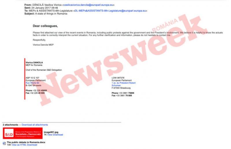 """Viorica Dăncilă s-a semnat """"bucătar-șef"""" într-o scrisoare în care susținea OUG 13 și pe care a trimis-o colegilor europarlamentari, ceea ce era de așteptat"""