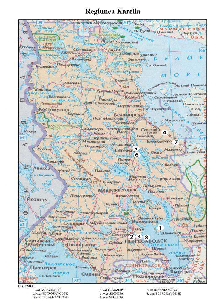 Hărți pe regiuni cu locurile de înhumare a prizonierilor români decedați pe teritoriul Federației Ruse (1941-1956)