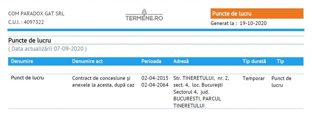 mentiunea privind concesiunea pe 50 de ani a terenului detinut de firma lui Gheorghe Cojanu (site: termene.ro)